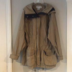 Cabin Creek khaki, women's, plaid, hooded jacket